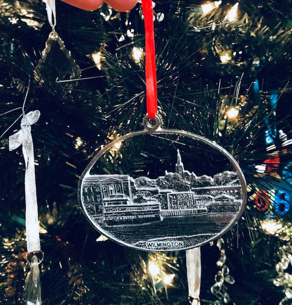 Wilmington Downtown Riverfront ILM UNCW CFCC Pewter Christmas Ornament - House of Morgan Pewter