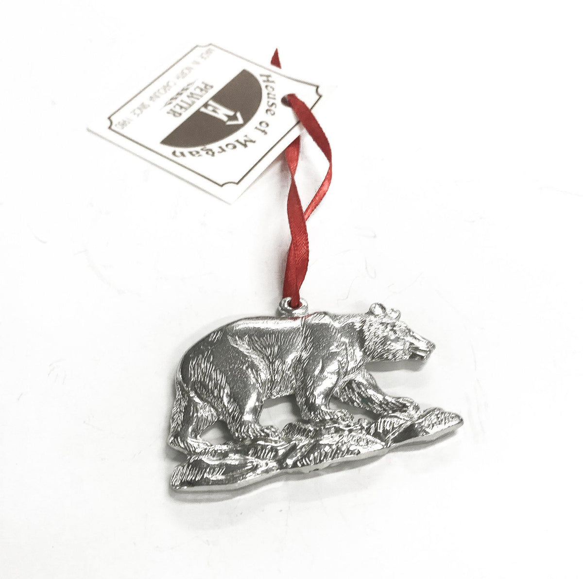Handmade Walking Bear Christmas Ornament Pewter