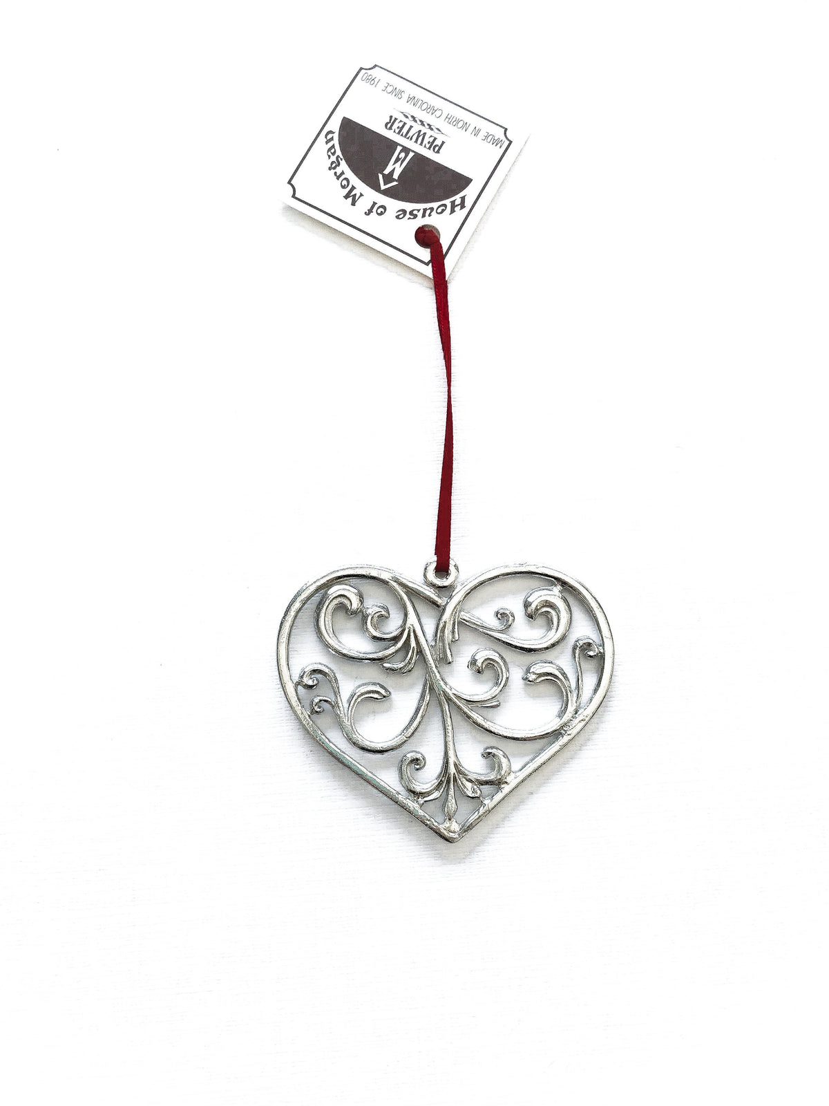 Handmade Elegant Swirly Heart Christmas Ornament Pewter - House of Morgan Pewter