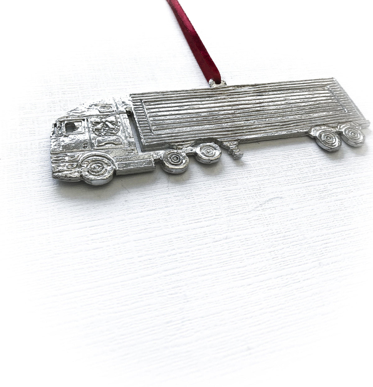 Handmade 18 Wheeler Truck Driver Christmas Ornament Pewter