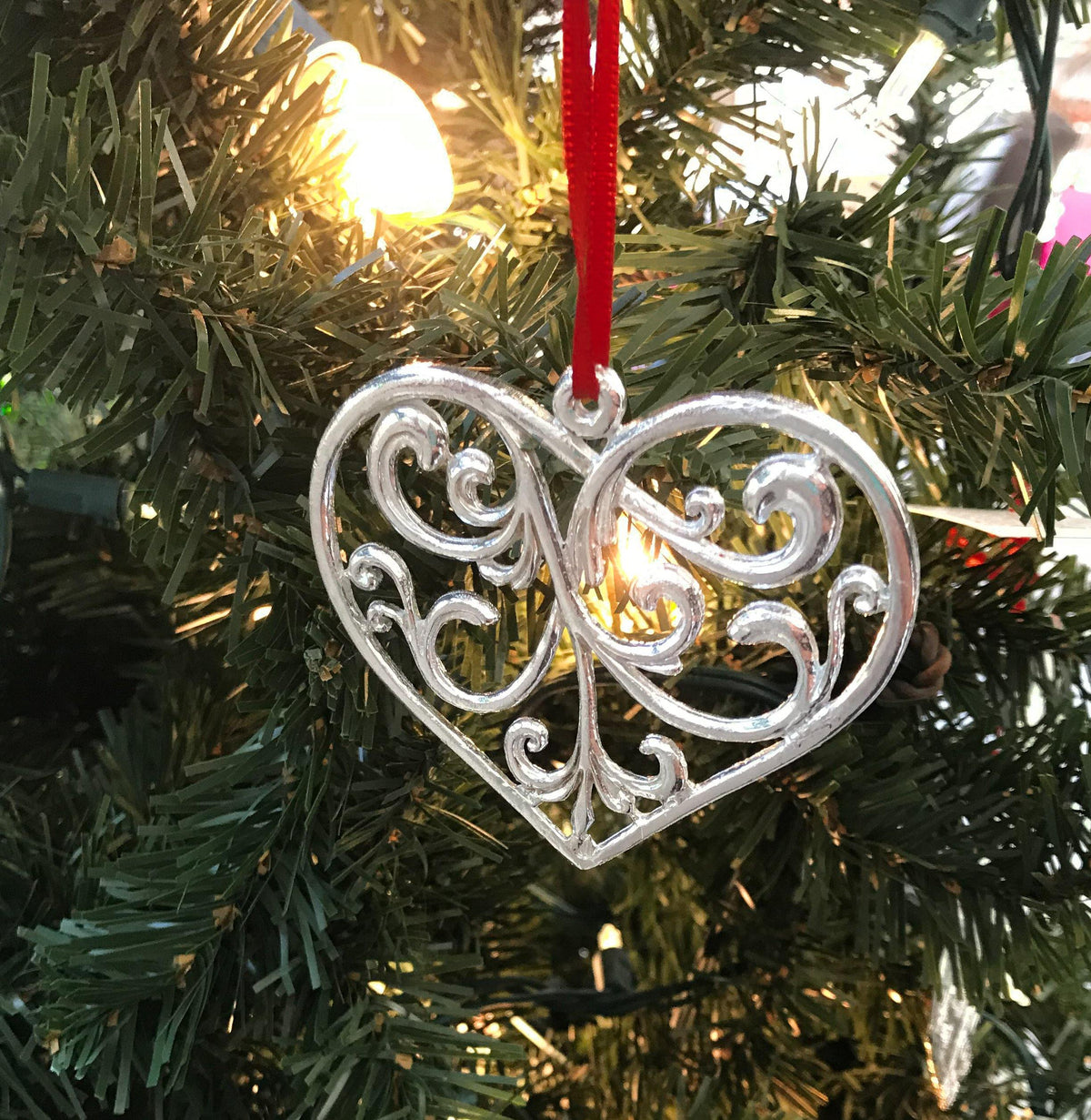 handmade swirly heart christmas ornament