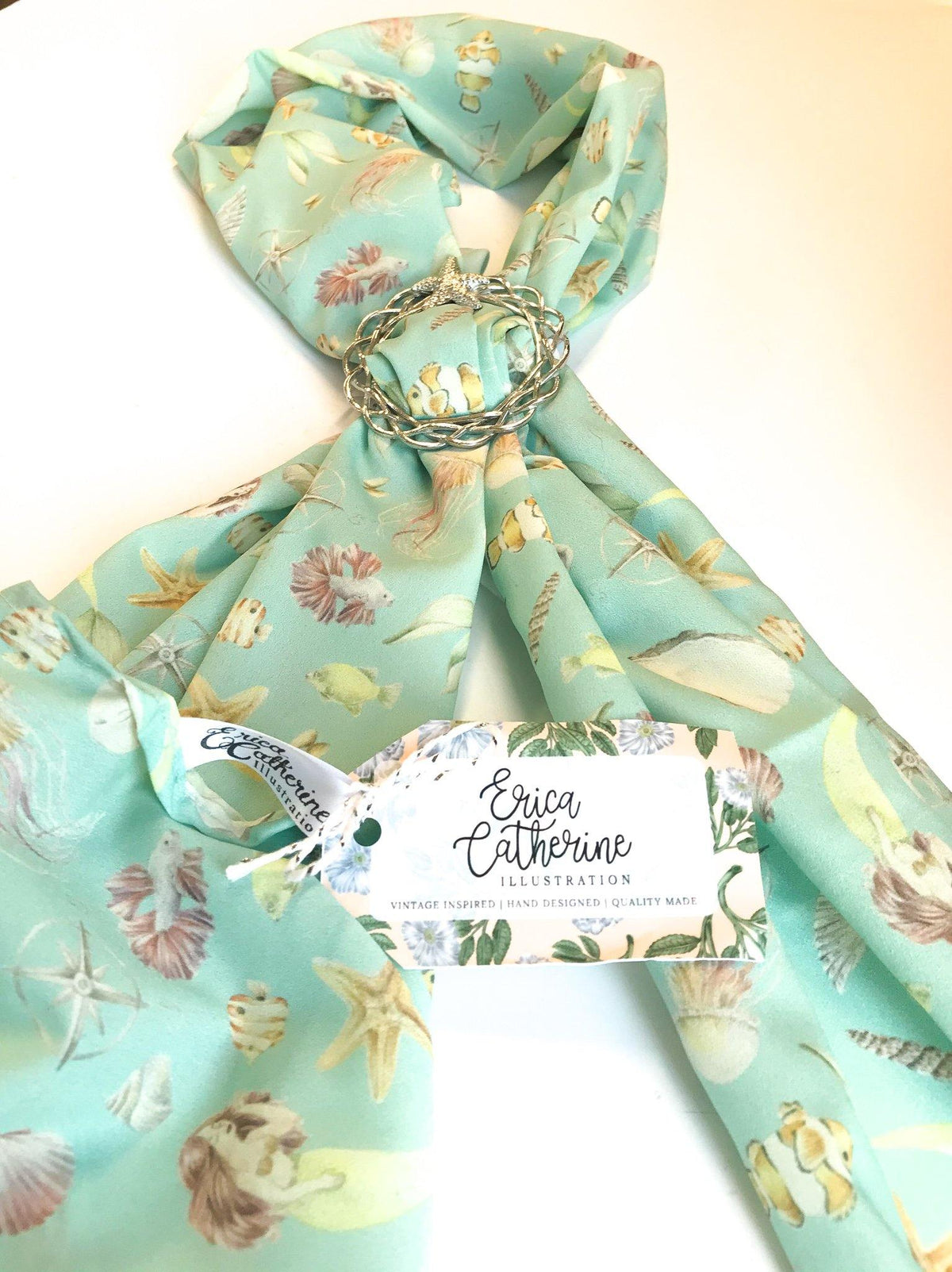 Beach Lover Holiday Gift, Scarf and Starfish Scarf Ring Gift Set