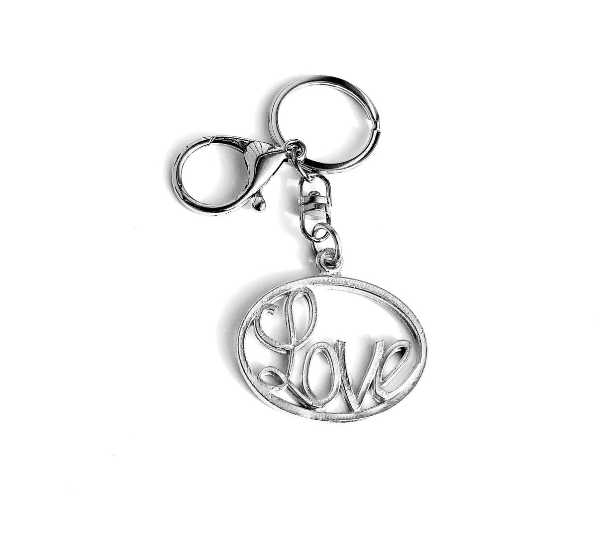 Handmade Pewter Love Keychain, Special Message Purse Charm, Valentine's Day Gift