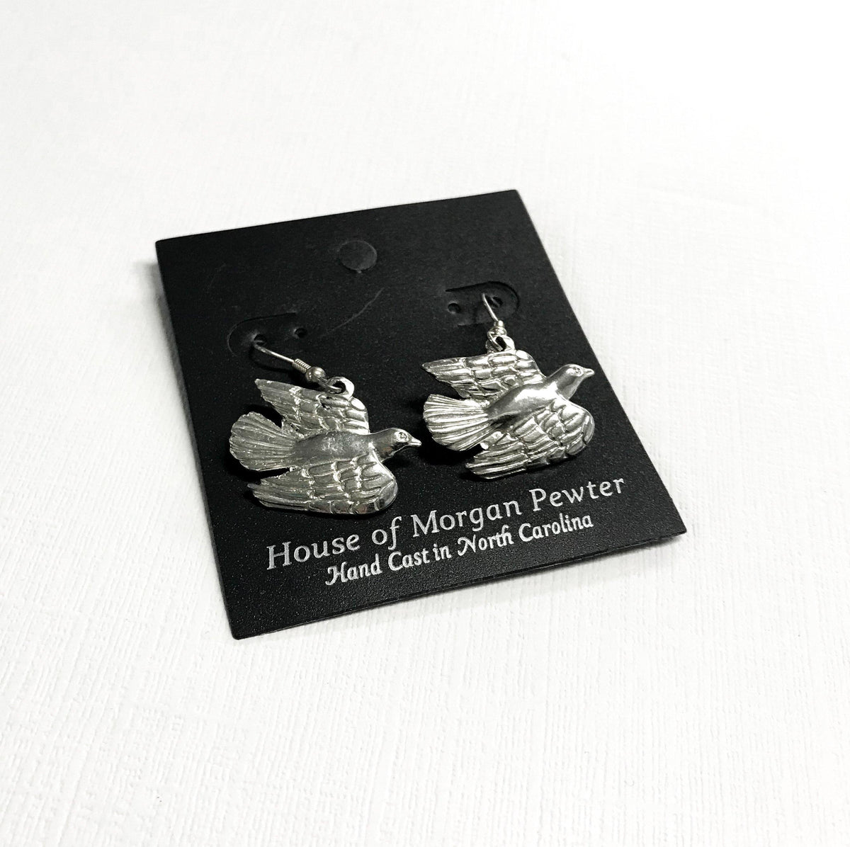Handmade Pewter Dove Jewelry- Earrings, Necklace, Gift Set - House of Morgan Pewter