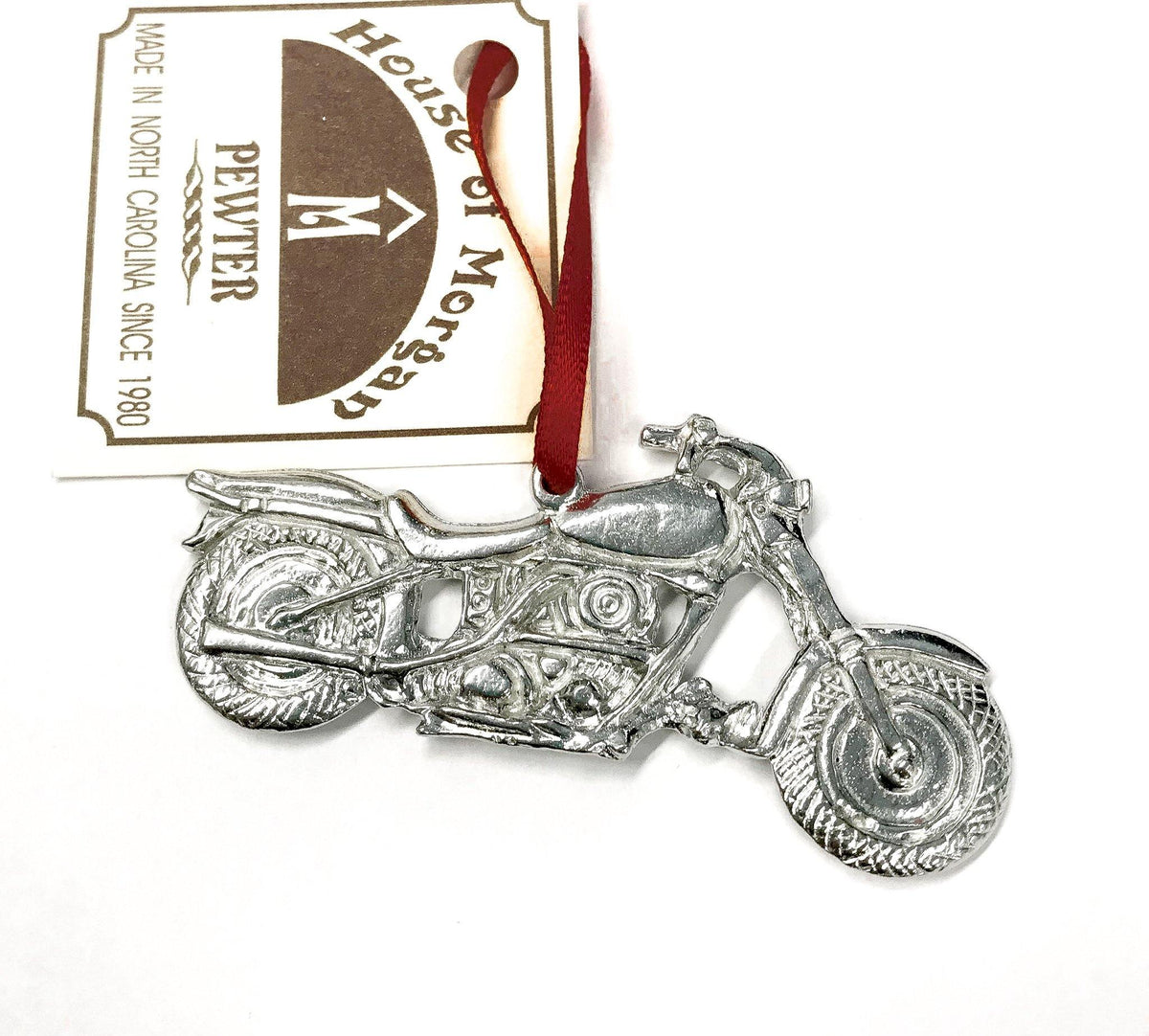 Handmade Biker Motorcycle Christmas Ornament Pewter - House of Morgan Pewter