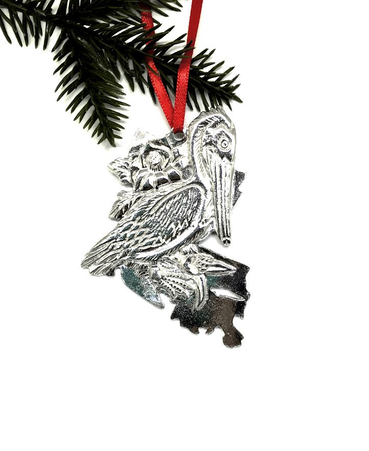 Louisiana LA State Outline Symbols Christmas Holiday Ornament Pewter - House of Morgan Pewter