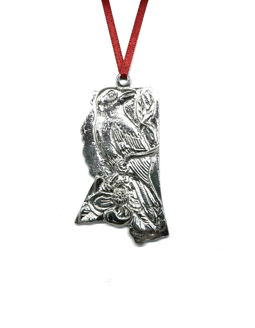 Mississippi MS State Symbols Outline Holiday Christmas Ornament Pewter - House of Morgan Pewter