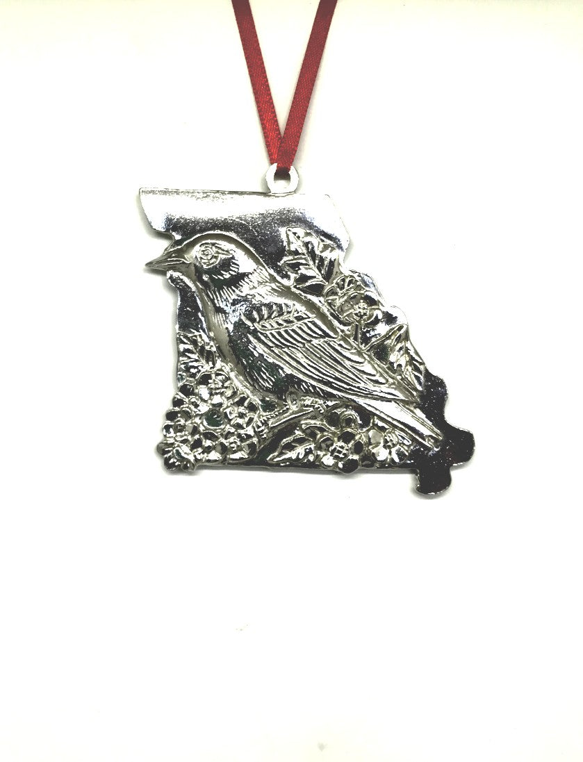 Missouri MO State Outline Symbols Christmas Holiday Ornament Pewter - House of Morgan Pewter