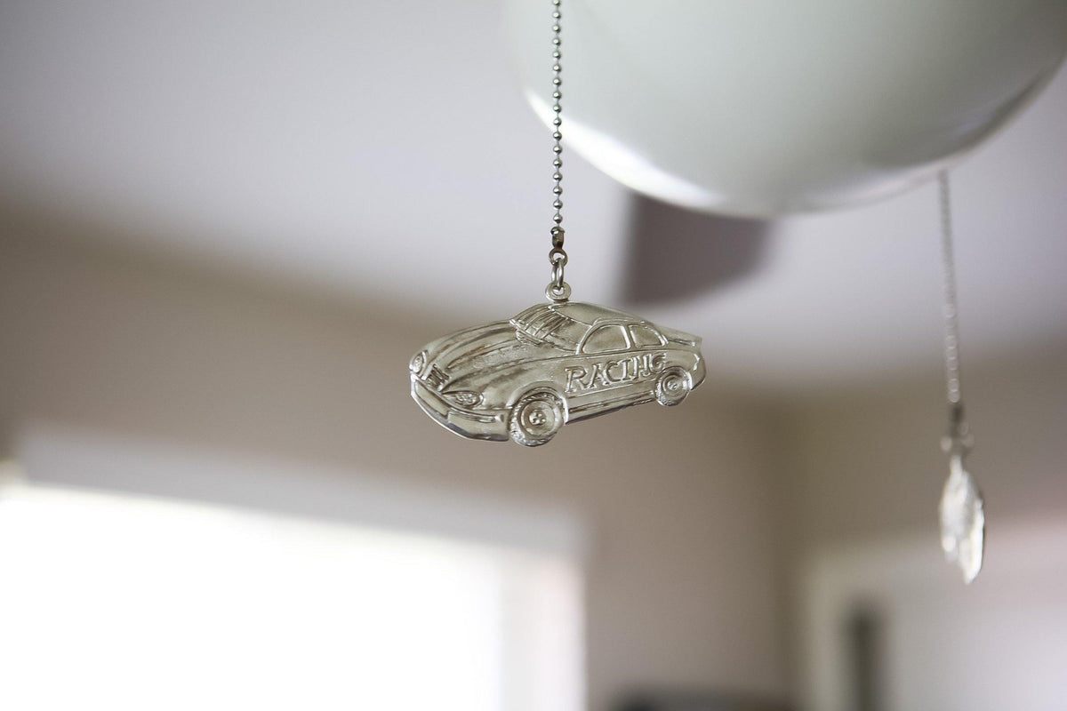 Race Car Driver Ceiling Fan Light Pull, Sports Fan Theme Room Decorations Man Cave Gift