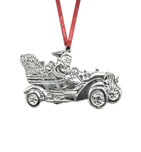 Santa Claus Fast Car Christmas Holiday Ornament Pewter - House of Morgan Pewter
