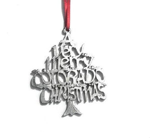 A Very Merry Colorado CO Christmas Holiday Keepsake Ornament Pewter