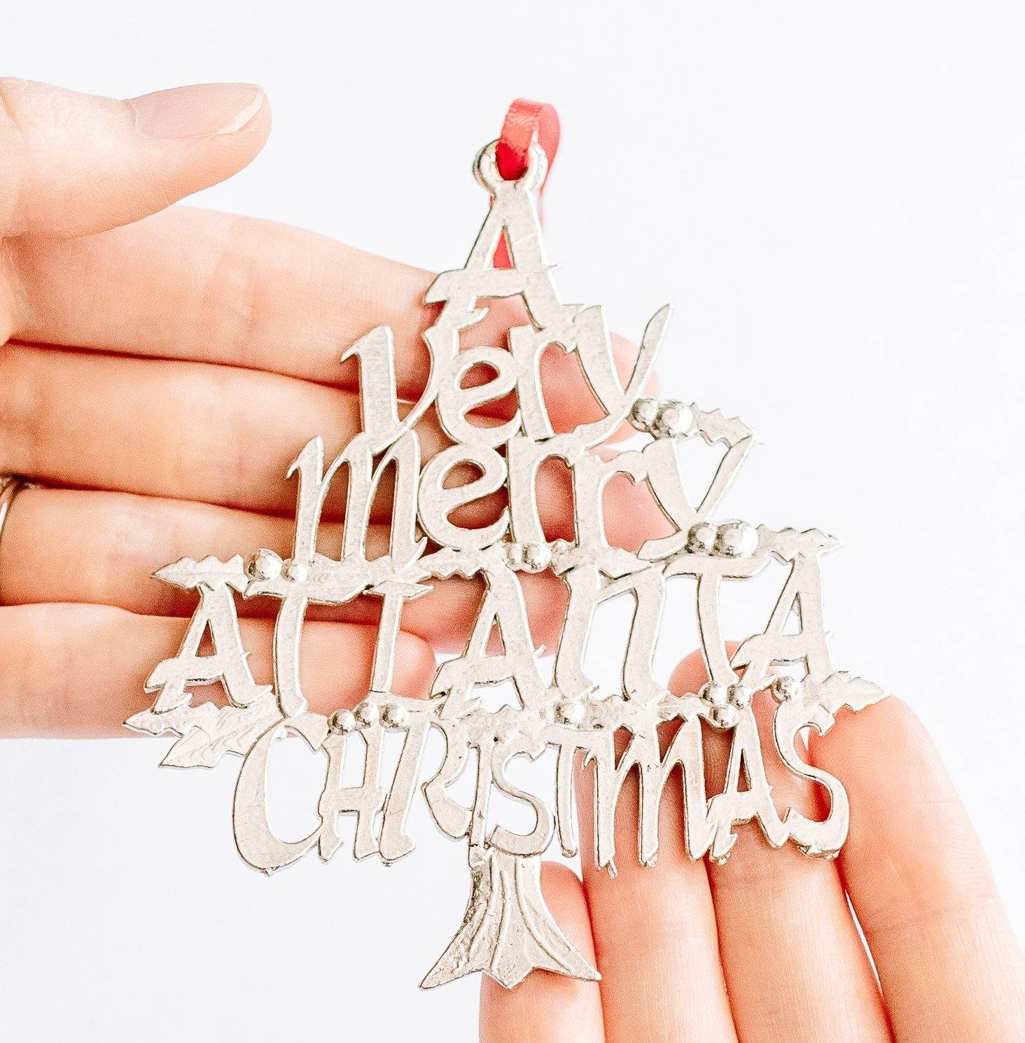 A Very Merry Atlanta ATL Christmas Holiday Keepsake Christmas Ornament Pewter - House of Morgan Pewter