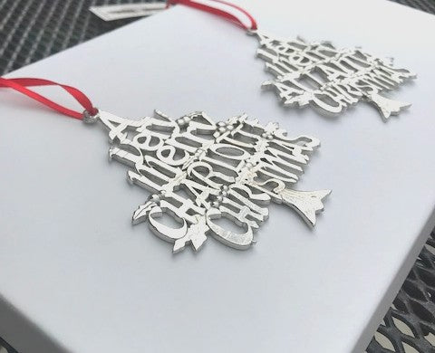 Very Merry Charlotte CLT Queen City Keepsake Holiday Christmas Ornament Handmade Pewter - House of Morgan Pewter