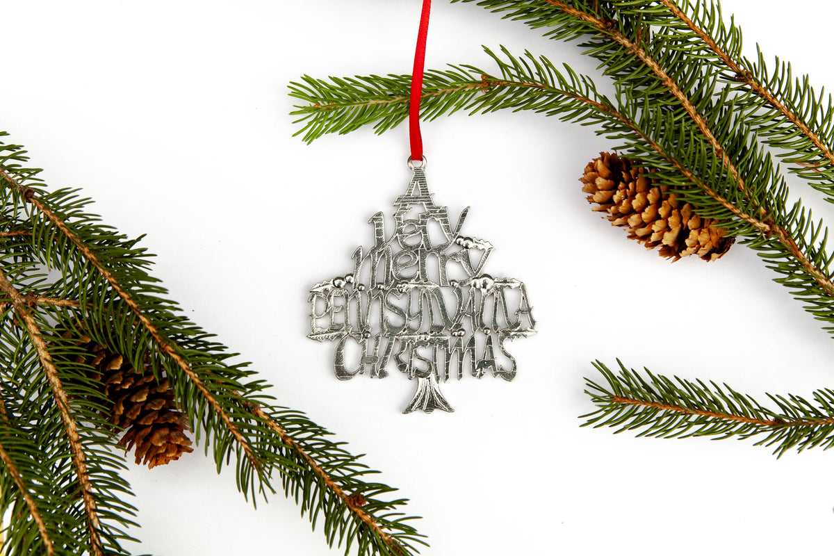 USA Handcrafted Pennsylvania PA Philadelphia Holiday Keepsake Ornament Pewter
