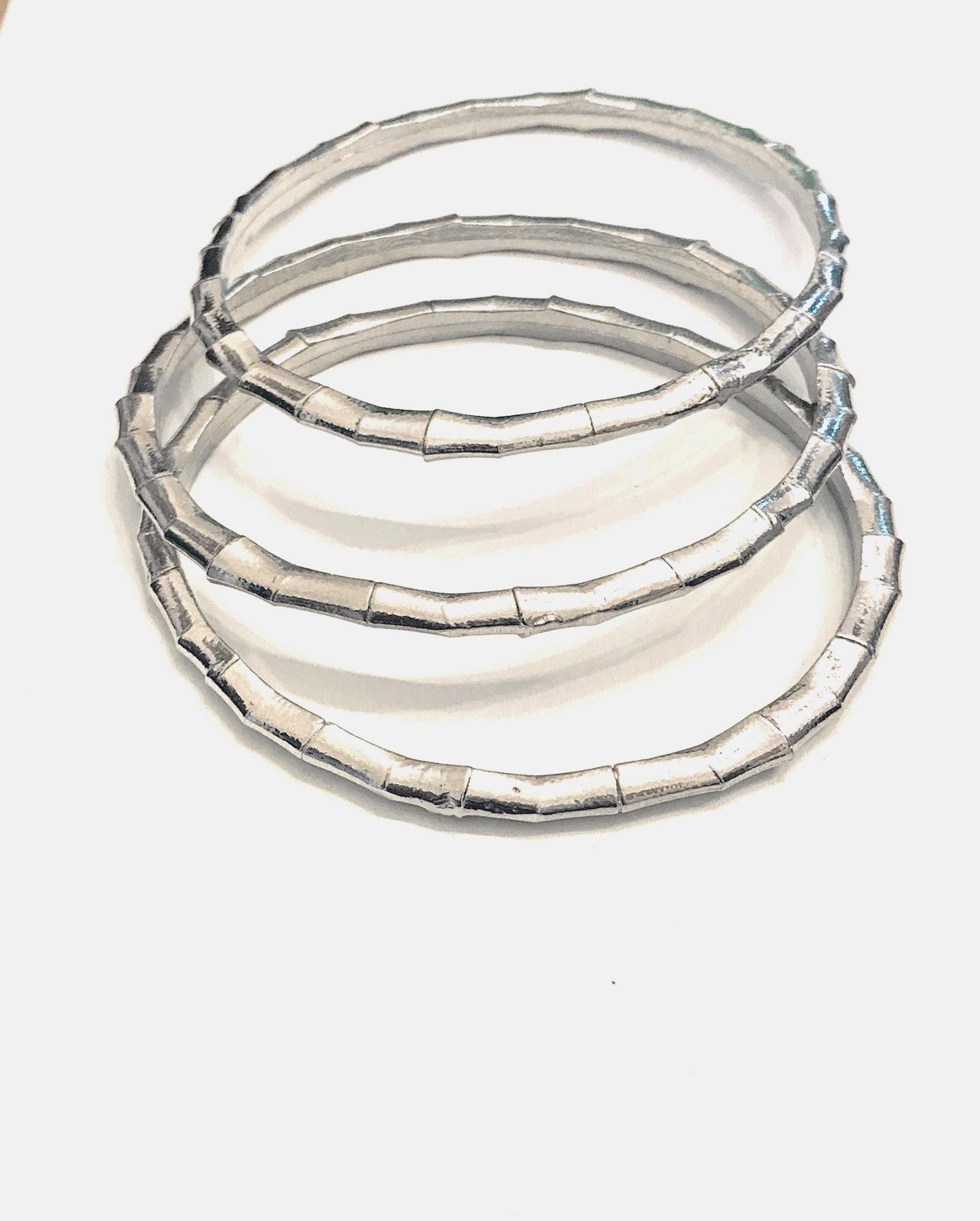 "Fine Pewter Bamboo Inspired Bracelet Bangle Jewelry 8"" Circumference - House of Morgan Pewter"