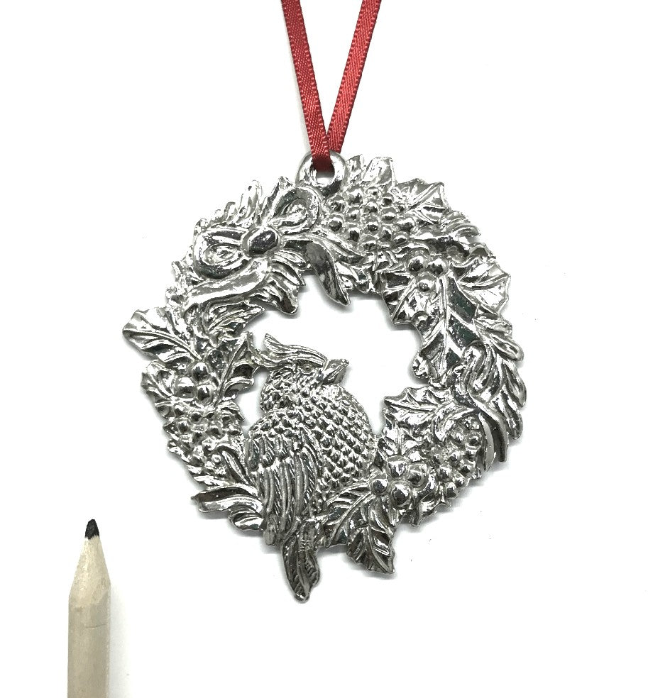 Holiday Wreath Cardinal Memorial Remembrance Keepsake Christmas Ornament Pewter - House of Morgan Pewter