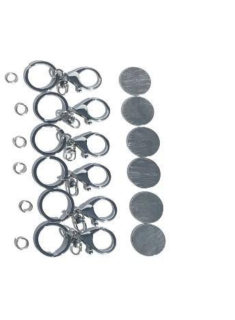 Hand Stamping Pewter Circle Blanks Key Chain Bag Charm Set of 6 North Carolina Made - House of Morgan Pewter