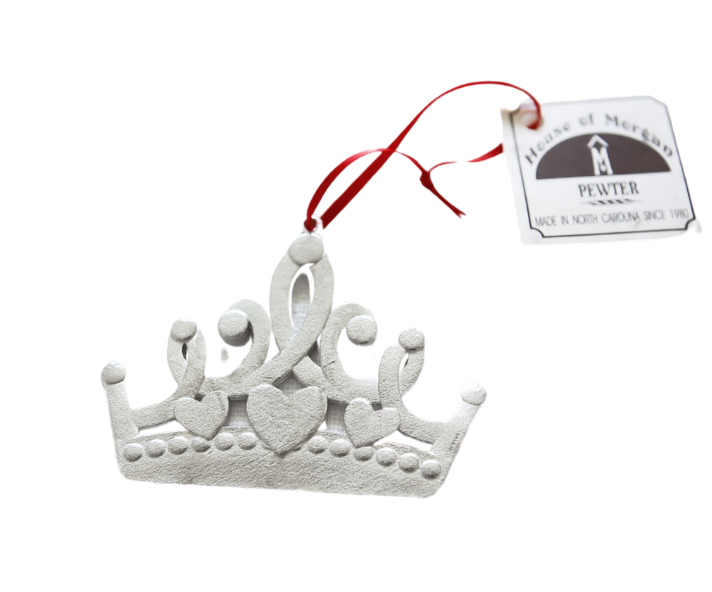 USA Handmade Princess Crown Keepsake Little Girl Christmas Ornament Pewter