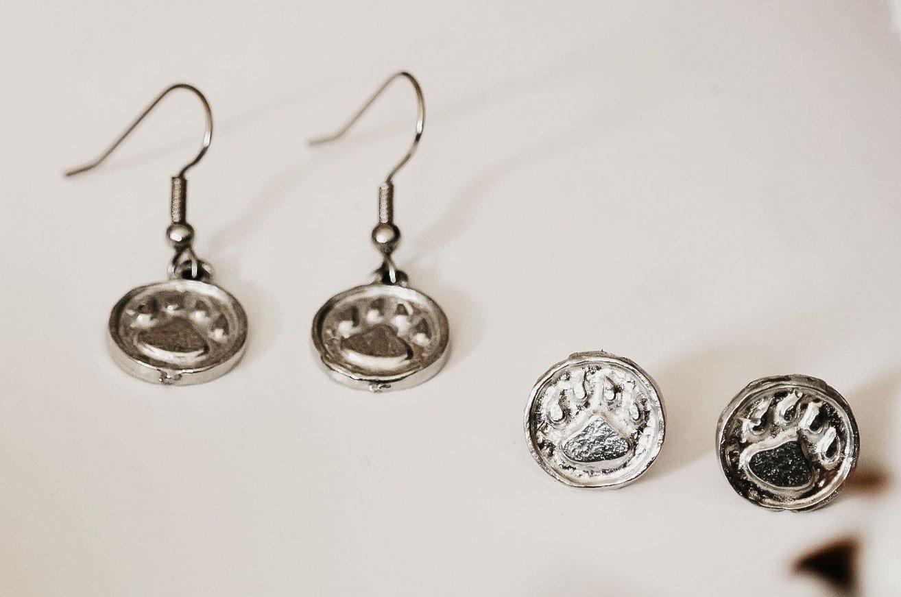 handmade pewter dog paw earrings