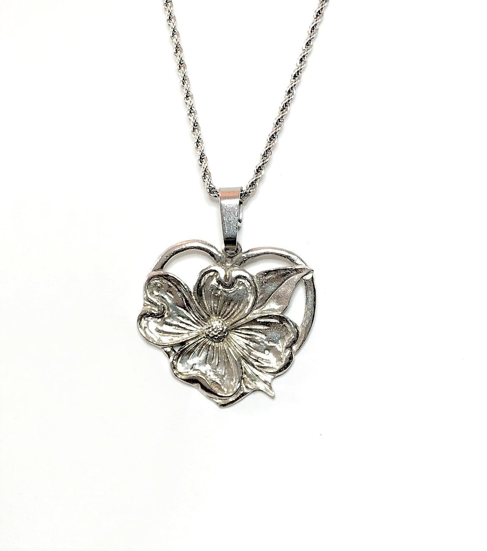 Dogwood Flower Heart Religious Pendant Charm Necklace Jewelry Accessory Pewter Handmade - House of Morgan Pewter
