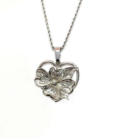 Dogwood Flower Heart Religious Pendant Charm Necklace Jewelry Accessory Pewter Handmade