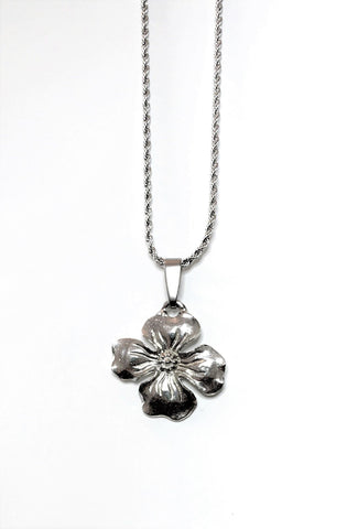 Dogwood Flower Religious Pendant Charm Necklace Jewelry Accessory Pewter Handmade