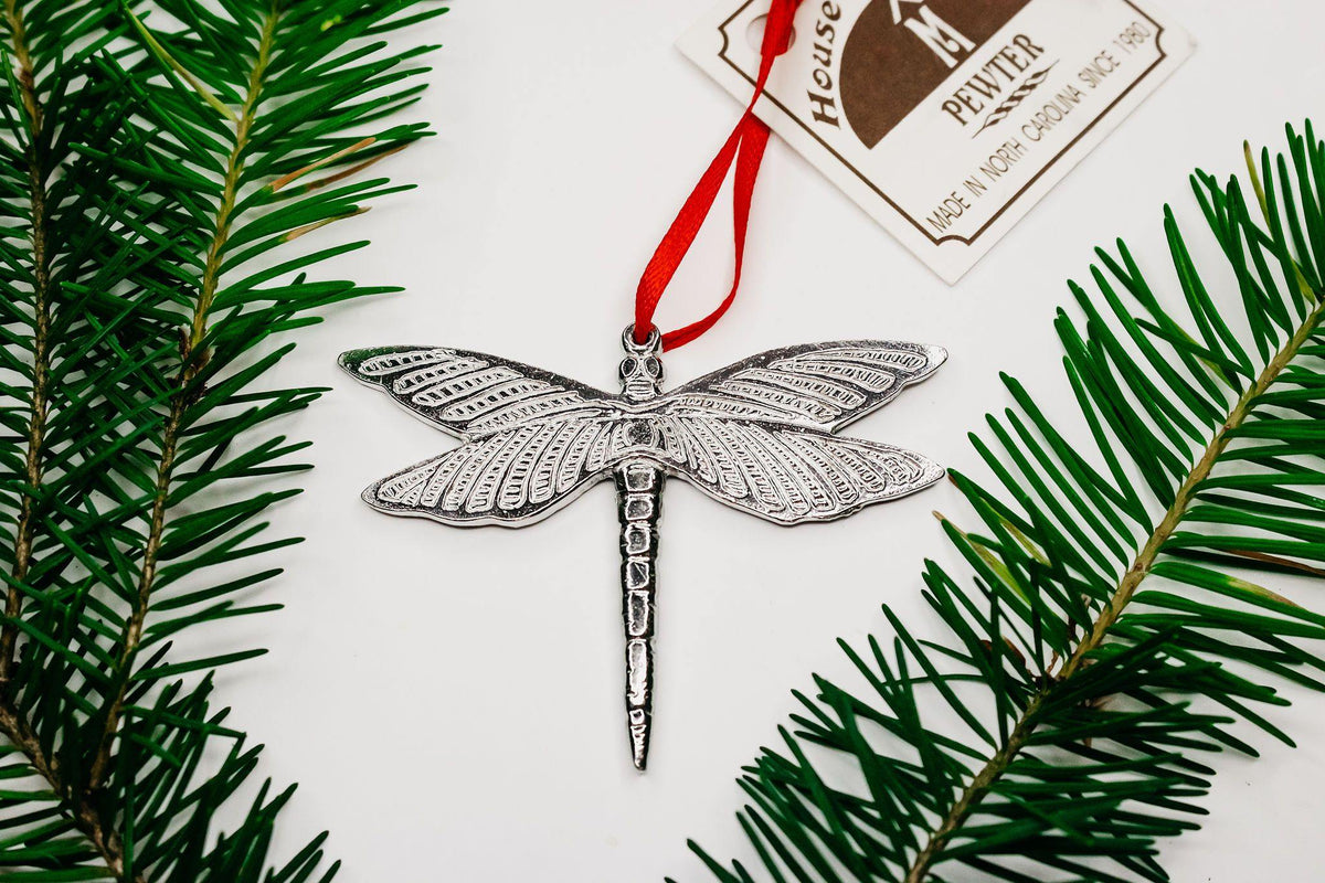 Handmade Dragonfly Keepsake Holiday Christmas Ornament Pewter