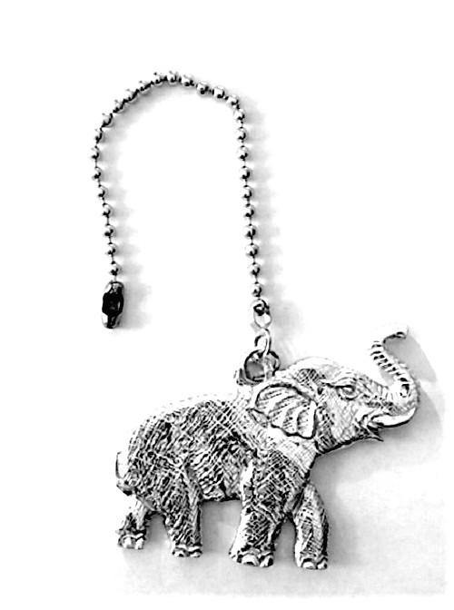 Accent Ceiling Fan Light Pull Elephant Fine Pewter Handmade - House of Morgan Pewter