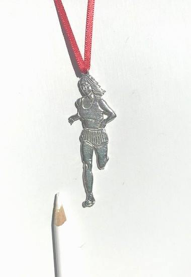 Female Lady Runner Triathlon Coach Keepsake Christmas Ornament - House of Morgan Pewter