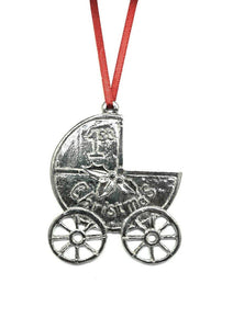 Baby's First Christmas New Mom Baby Carriage Ornament Keepsake Pewter - House of Morgan Pewter
