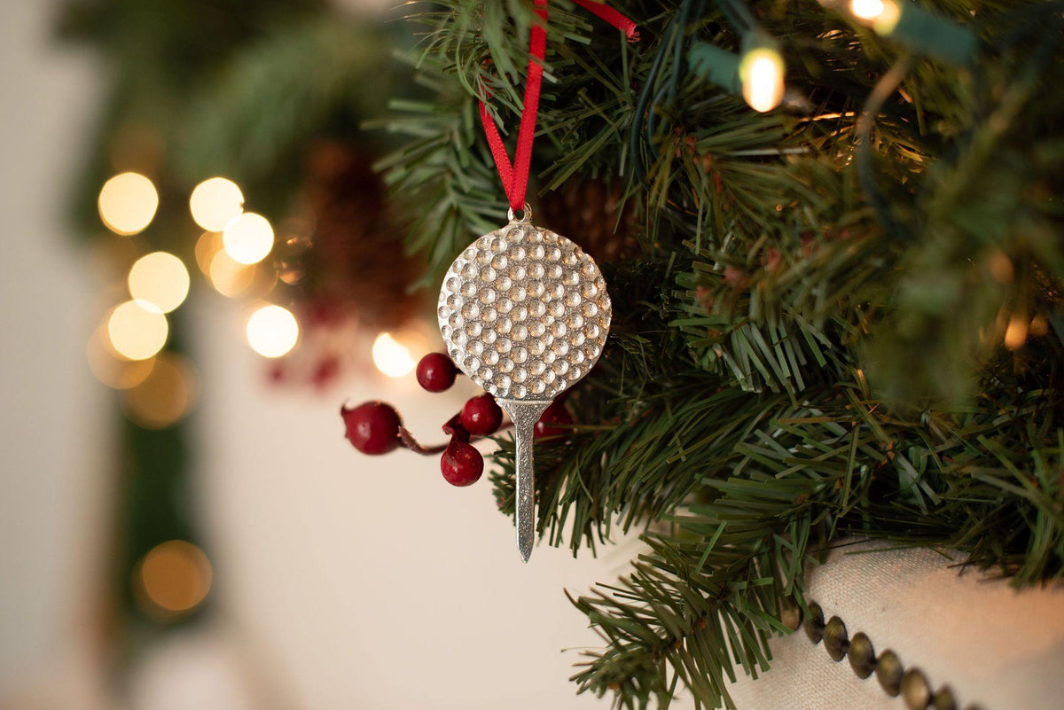 Handmade Golf Ball Tee Christmas Ornament - House of Morgan Pewter