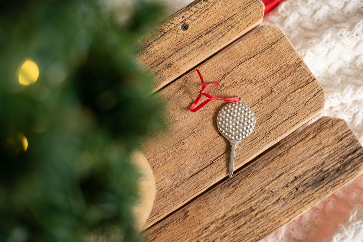 Handmade Golf Ball Tee Christmas Ornament