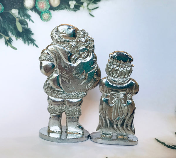 Santa & Mrs. Clause Standing Figurines Christmas Holiday Ornament Pewter - House of Morgan Pewter