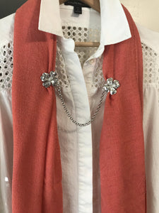Handmade Pewter Dogwood Sweater Cardigan Close Clasp Accessory - House of Morgan Pewter