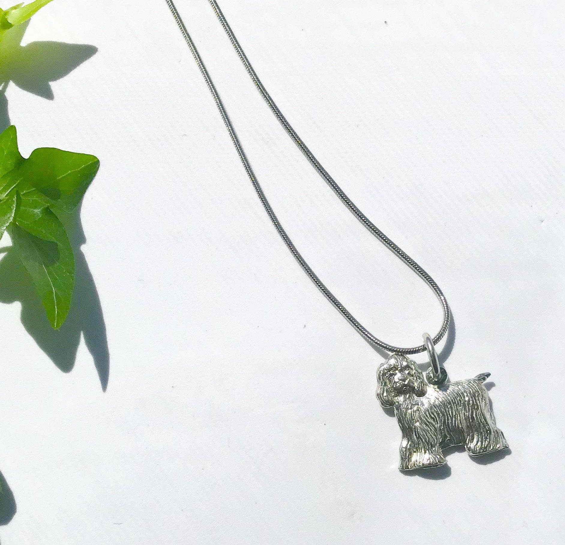 cocker spaniel pewter charm with necklace
