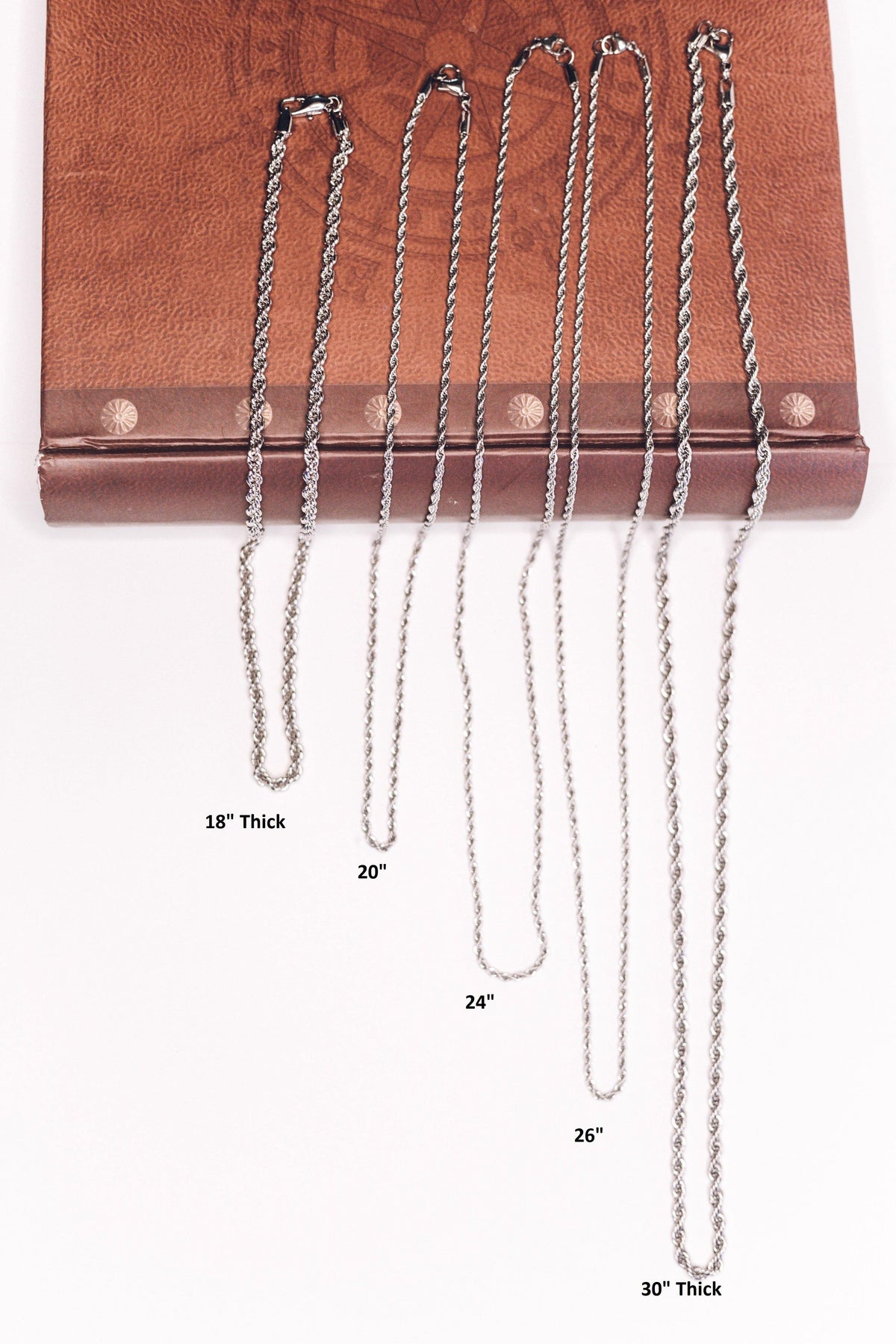 "Stainless Steel Rope Chain Necklaces- 18"" 20"" 24"" 26"" 30"" - House of Morgan Pewter"