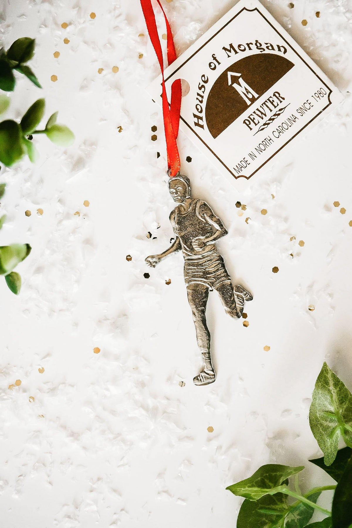 Handmade Male Runner Triathlon Coach Keepsake Christmas Ornament - House of Morgan Pewter