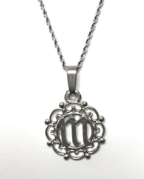 Monogram Initial Charm Pendant Necklace Pewter - House of Morgan Pewter
