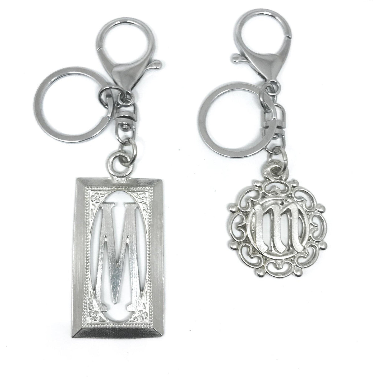 USA Handcrafted Circle Monogram Initial Keychain Bag Purse Charm Pewter Wedding Party Gift