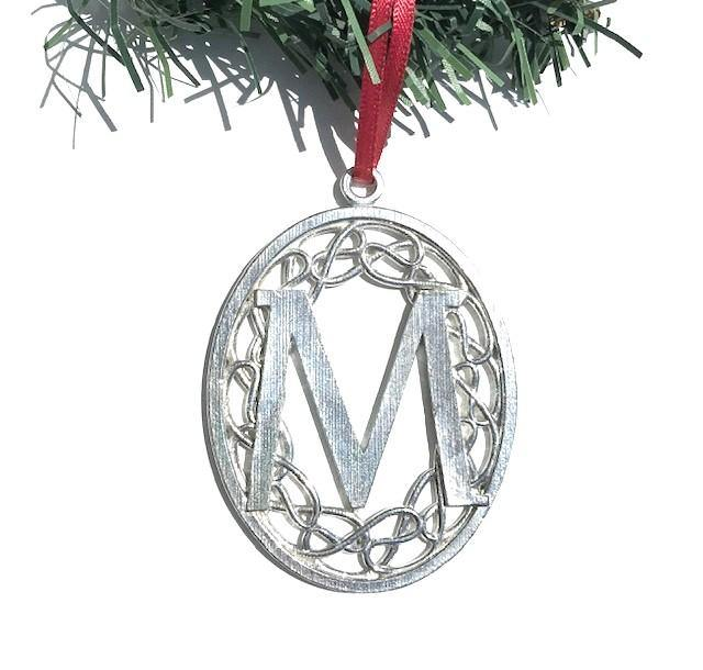 Handmade Monogrammed Initial Christmas Holiday Ornament Pewter - House of Morgan Pewter