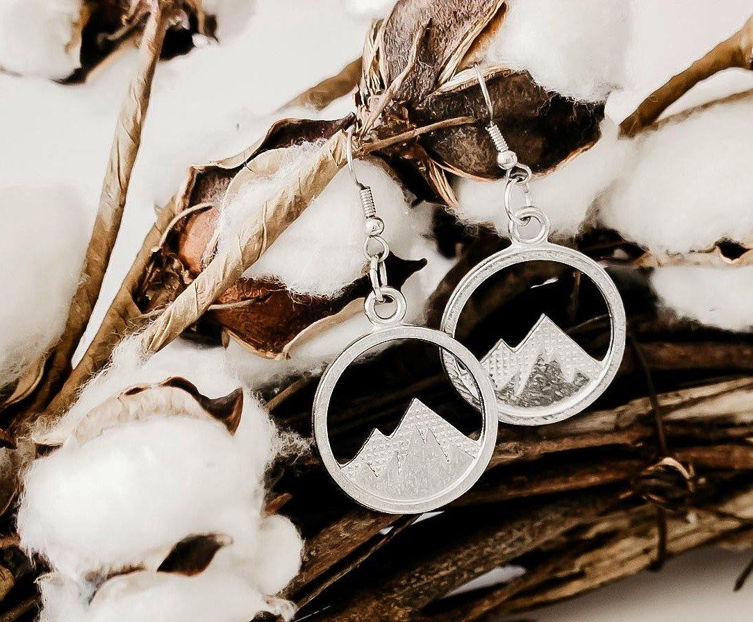 handmade mountain top silver hanging earrings