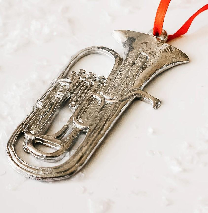 Handmade Tuba Musical Instrument Christmas Ornament Pewter