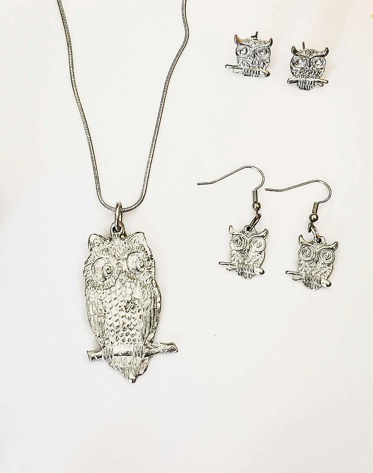 Handmade owl perching pewter jewelry