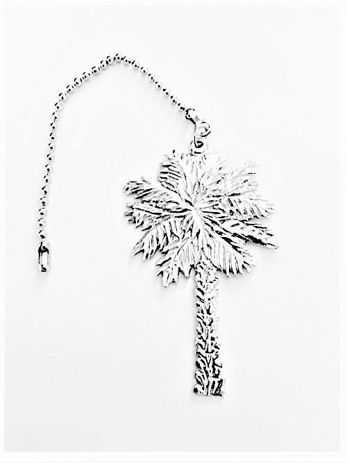 Accent Ceiling Fan Light Pull Palm Tree Beach Theme Pewter Handmade - House of Morgan Pewter