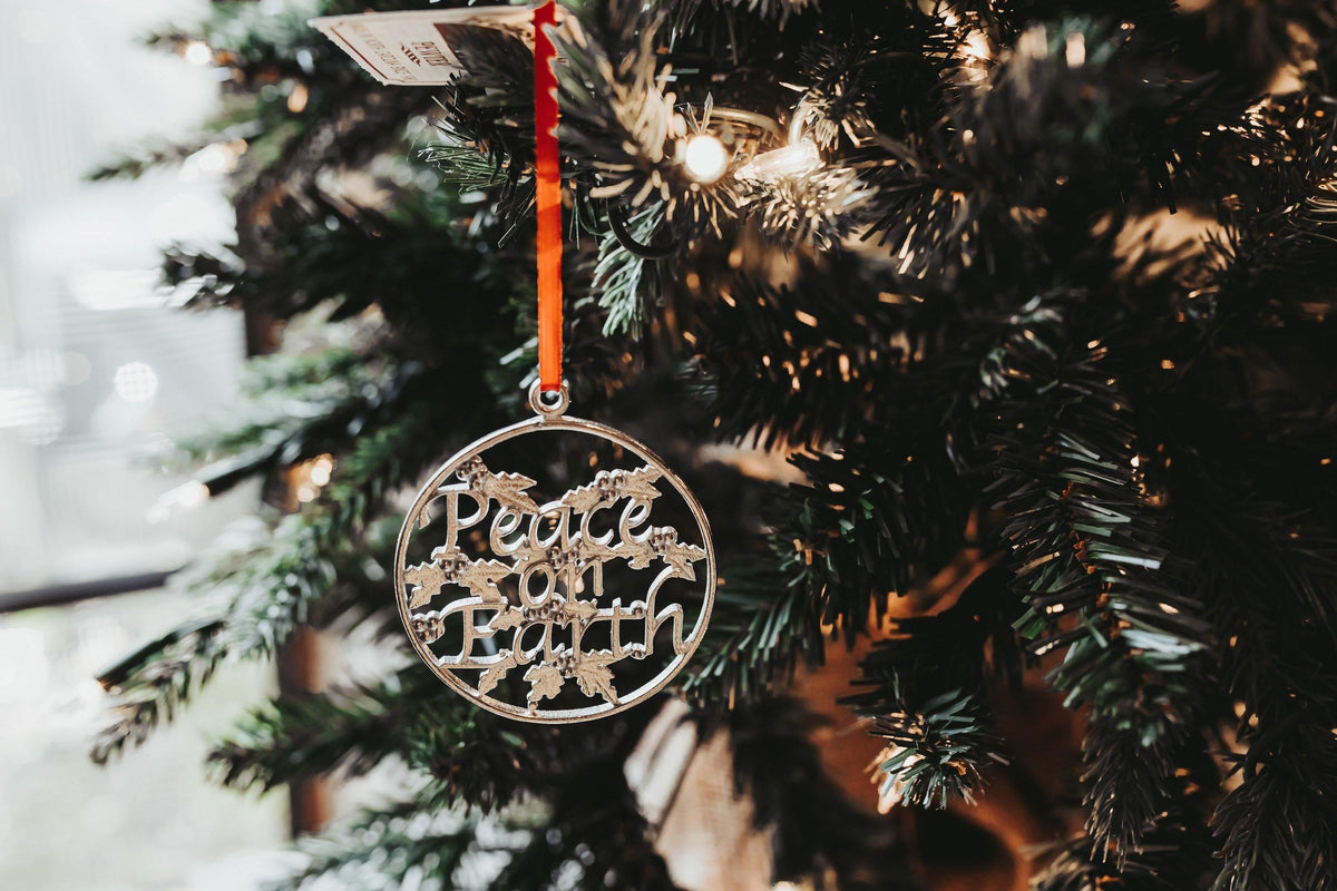 Handmade Peace on Earth Pewter Christmas Ornament