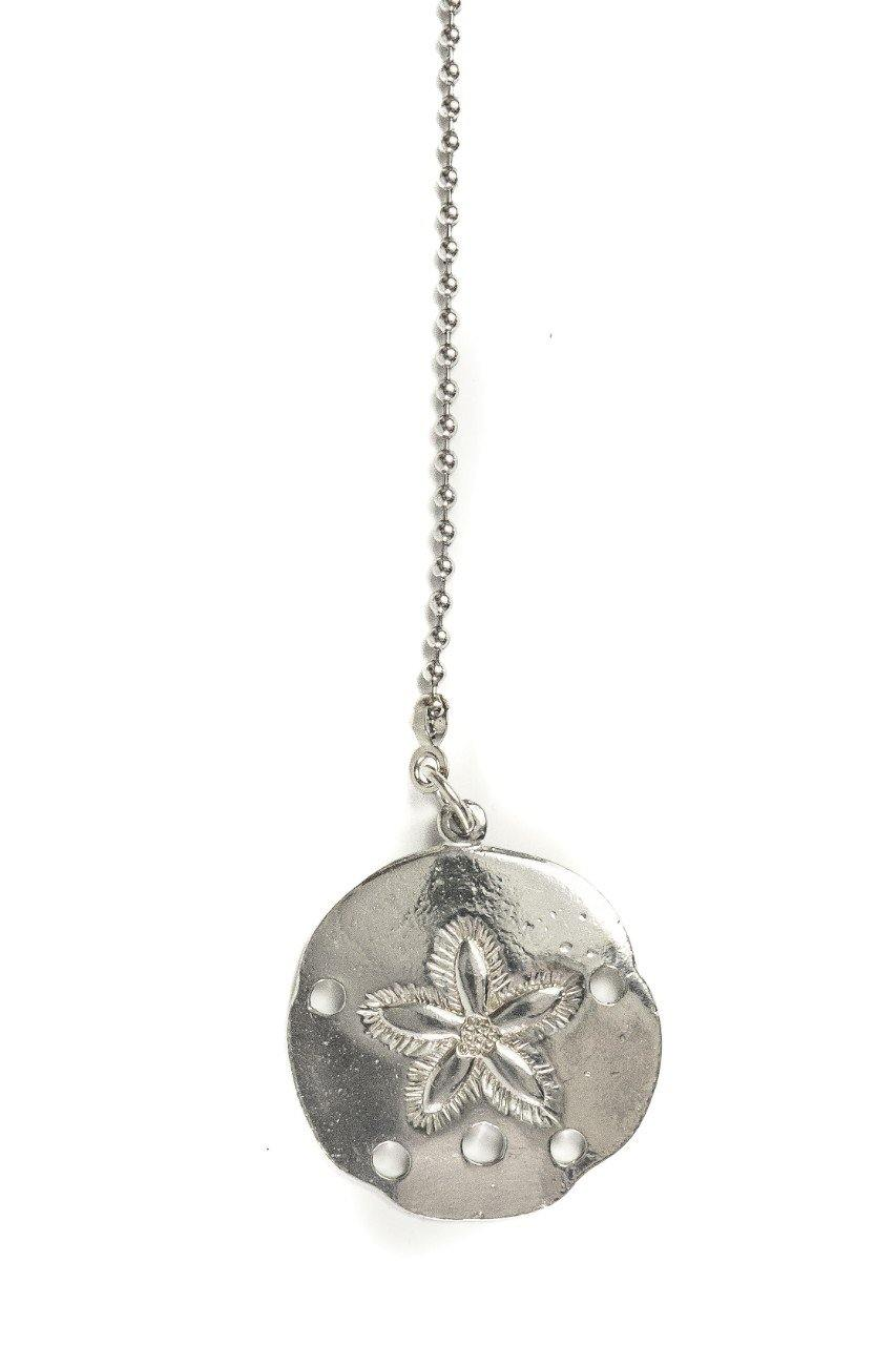 Accent Ceiling Fan Light Pull Sand Dollar Seashell Beach Theme Room Fine Pewter Handmade - House of Morgan Pewter
