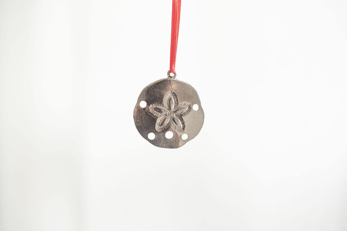 Handmade Sand Dollar Seashell Christmas Ornament Pewter