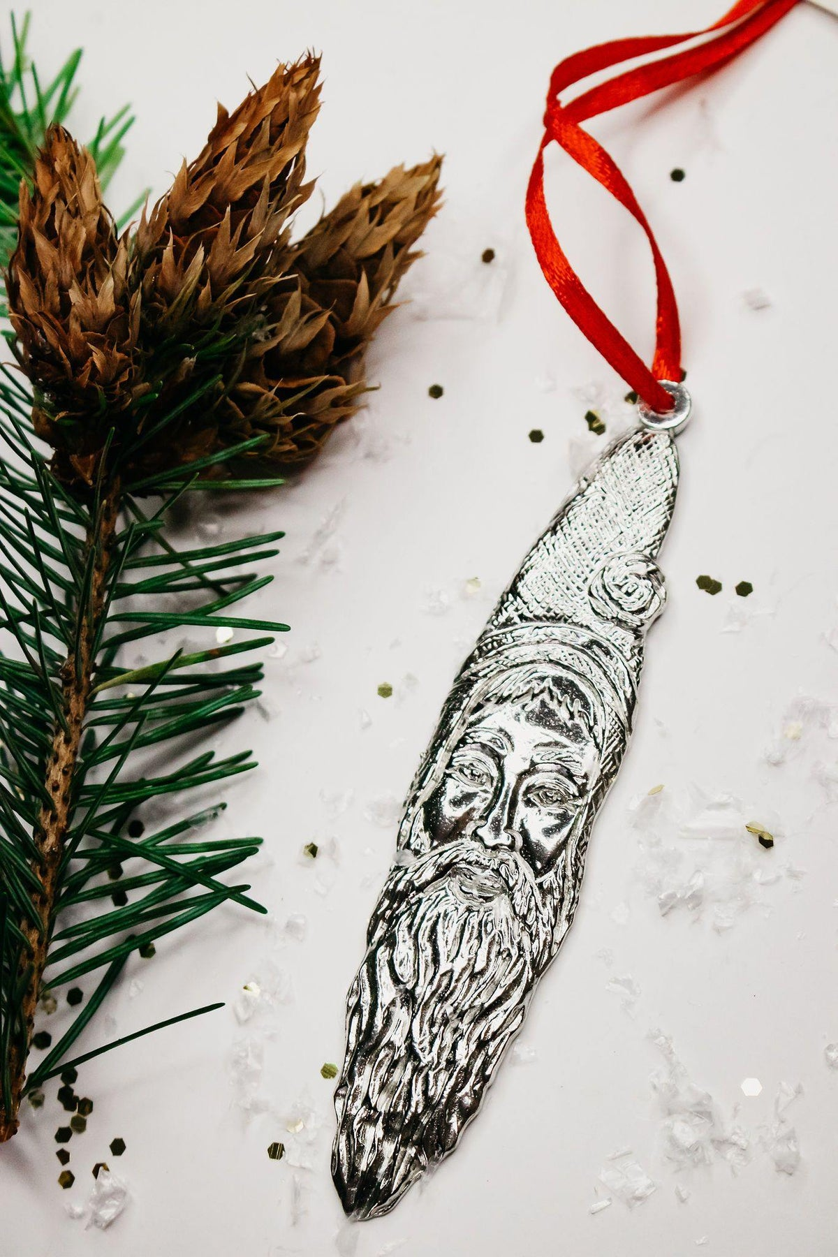 Handmade Santa Claus Sickle Beard Christmas Holiday Ornament Pewter