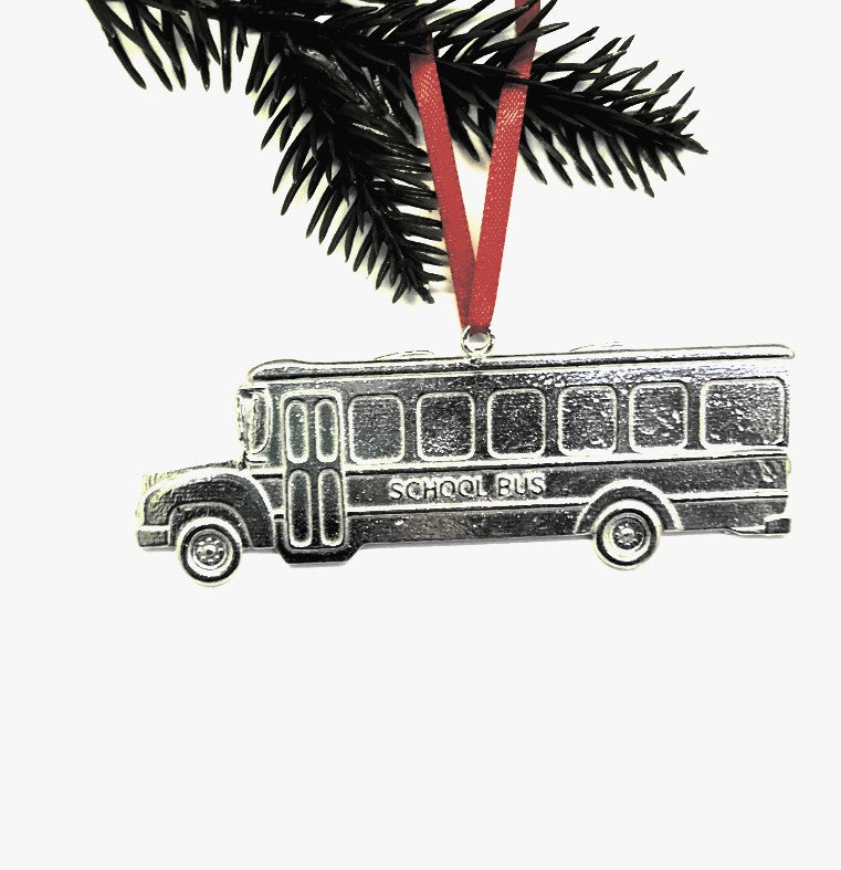 School Bus Driver Student Teacher Holiday Christmas Ornament Pewter - House of Morgan Pewter