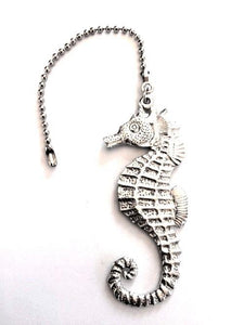 Fine Pewter Accent Ceiling Fan Light Pull Seahorse - House of Morgan Pewter